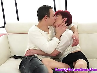 Redhead grandma gets screwed after foreplay