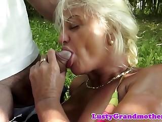 Busty european granny rectally fucked outdoors
