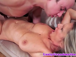 Busty gilf in stockings gets pounded deeply