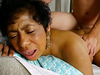 Gorgeous busty captured old spunker loves cum all over her nice big tits