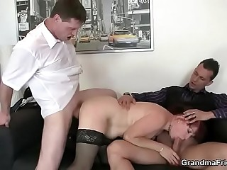 Office mature woman enjoys 2 mushy