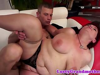 Amateur grandma in stockings gets fucked hard