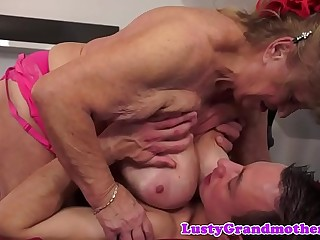 Chubby granny with saggy tits gets bitchy