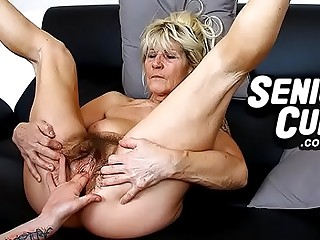 Closeups of very old hairy cunt of granny Linda