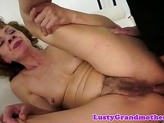 Euro grandma dildoed and fucked in her ass