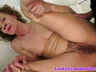 Anally nailed granny enjoys a younger dick