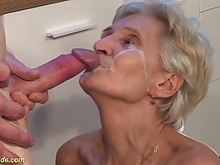 hairy bush 83 years old big tit granny enjoys rough big hard-on kitchen sex by her stepson