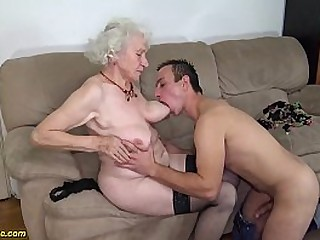 chubby 91 years old hairy granny norma with big saggy knockers gets former boyfriend nailed by her young big cock toyboy
