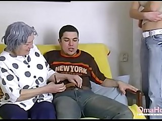 OmaHoteL Nude Couple and Granny Toys Threesome