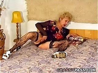 Hairy Granny Gets Pounded Rock hard By A Young Cock