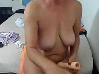 Amateur Chesty Granny Dildoing Hard