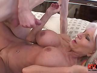 Nasty grandma shows grandson how to fuck.