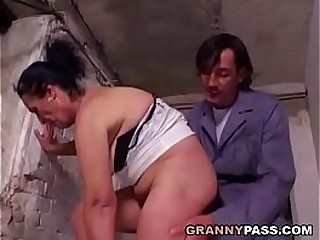Hairy Granny Prepares For Anal In A Cellar