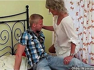 Ash-blonde skinny granny big black cock anal