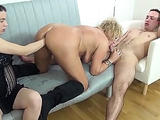 chubby big hooter 74 years old granny loves her very first rough threesome fisting and fucking porn lesson