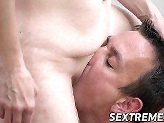Upbeat granny eats cum after plowing