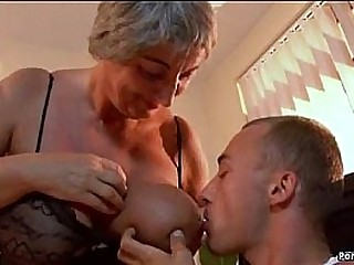 Big-titted granny needs young cock