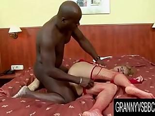 Granny Vs Big black cock - Bushy GILF Lilla Anal
