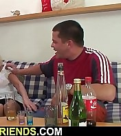 Very old blonde granny swallows two cocks at once