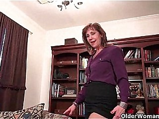 Granny Claire smallish herself with a fake penis
