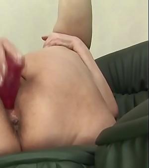 Old, fat granny Tamara B masturbating and using a dildo.