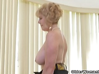 Depraved granny Phoenix Skye from the USA strips her nylon pantyhose