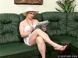 Hairy granny gets fucked by a young guy
