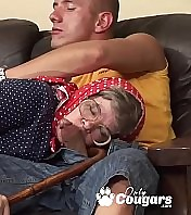 Whorish Grandma Sits Her Old Pussy Down On A Young Mans Man rod