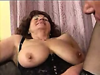 Granny in Pantyhose Spreads for Cock
