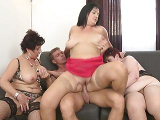 Granny and breasty mammas sharing youthful son