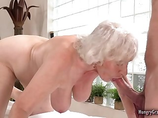 Granny loves big hard cock in her mature pussy