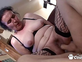 Chunky Old Granny Puts On Some Fishnet Stockings &amp_ Gets Fucked