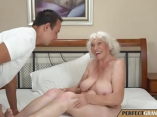 the grandma has a big hooters