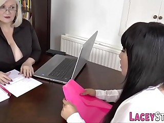 Granny gets pussy licked by asian lesbian