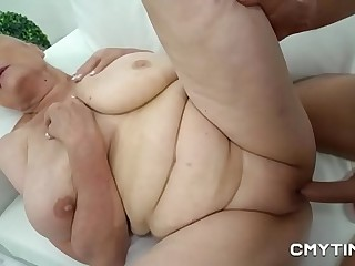 Busty blonde granny gets nailed