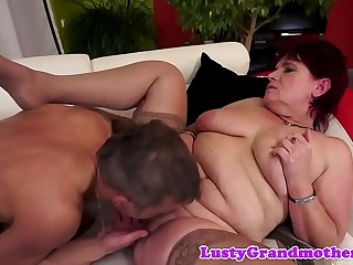 Chubby redhead grandma fucked after oral