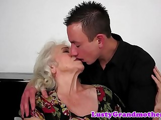 Hairy grandma porked deeply before titfucking