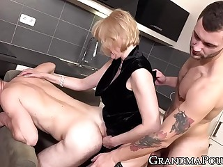 Stockinged GILF pegging hunks ass after big-boobed two tender