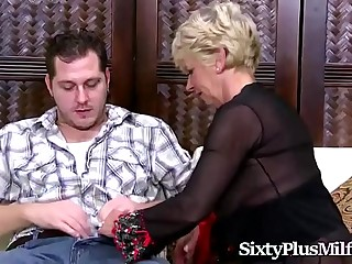 Busty blonde granny banged by a horny stud