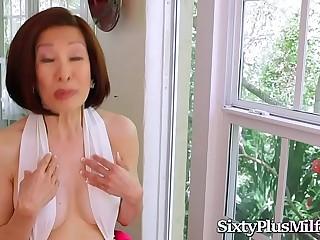 Asian Granny Enjoys Anal With 2 Hard Cocks