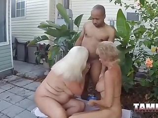 Horny grannies enjoy sucking a bbc