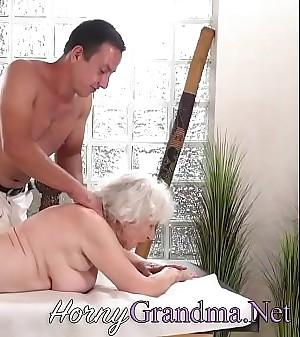 Old granny takes facial