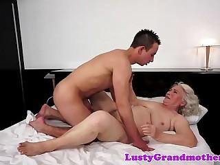European grandma spooned and titfucked