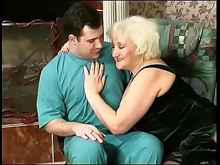 Blonde granny seduces boy