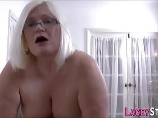 Gran masseuse licks and rides cock